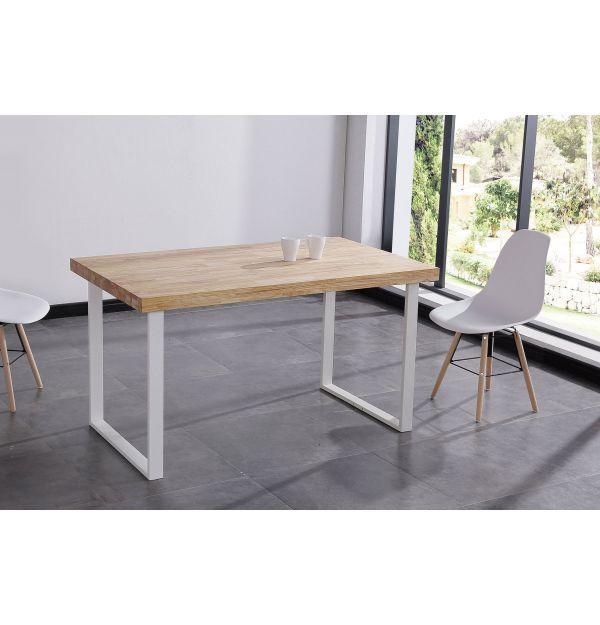 Mesa Comedor Natural Roble Salvaje/Blanco 140 x 80 - Mejor precio ...