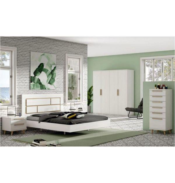 Dormitorio Matrimonio Krona Color Polar/Roble Natural