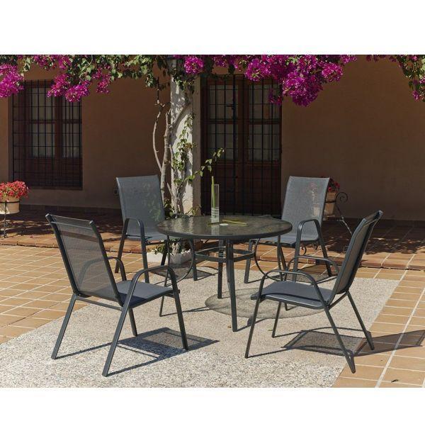 Set de terraza sulam 105 4 set acero sulam 105 factormueble for Set terraza