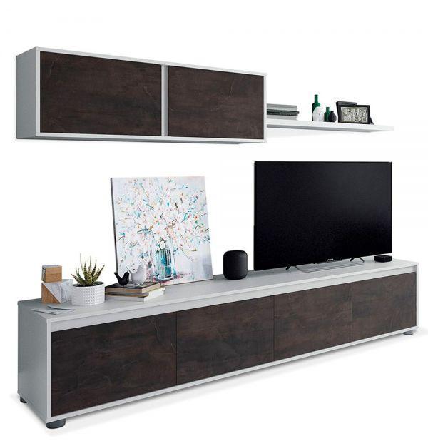 Composición Salón Home TV Blanco Artik/Óxido