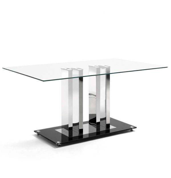 Mesa Comedor Trinidad - Cristal templado - Acero cromado | Factormueble