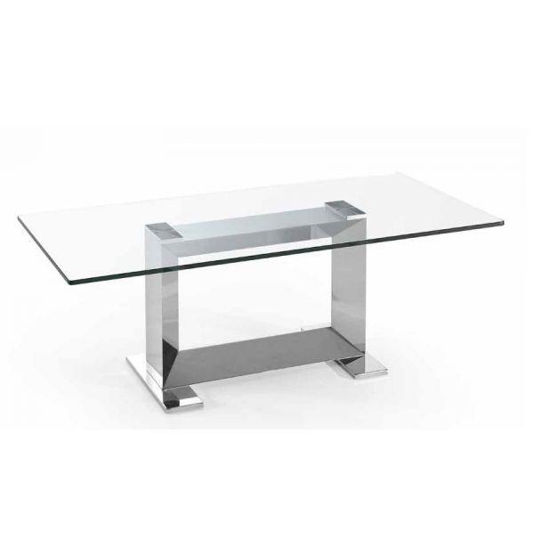 Mesa de centro kika cristal acero inoxidable factormueble - U acero inoxidable ...
