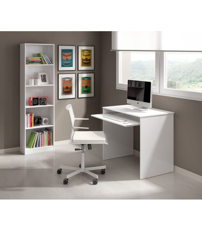 Escritorio juvenil blanco brillo mesa de ordenador factormueble - Escritorio juvenil blanco ...