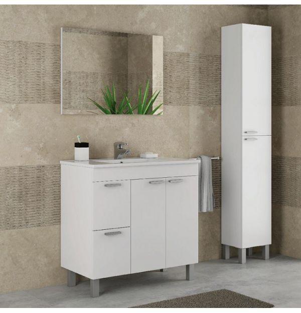 Mueble lavabo aktiva 2 puertas 2 cajones blanco brillo factormueble - Mueble lavabo blanco ...