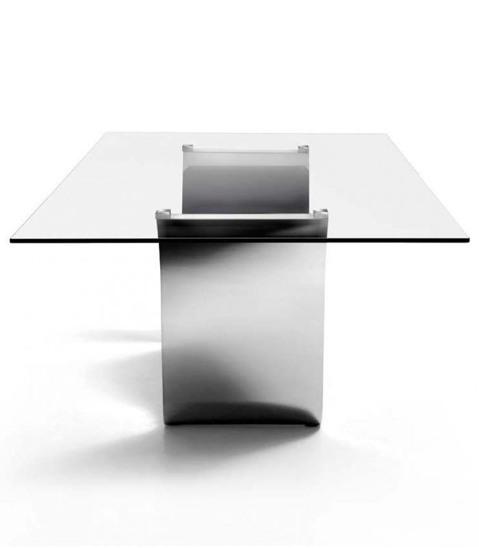 Mesa comedor rizzo cristal acero inoxidable factormueble - Mesas de comedor de cristal y acero ...
